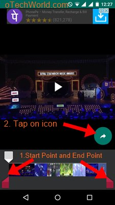 select video start points and endpoint