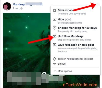 Unfollow Facebook Friends Profile On PC browser news feed
