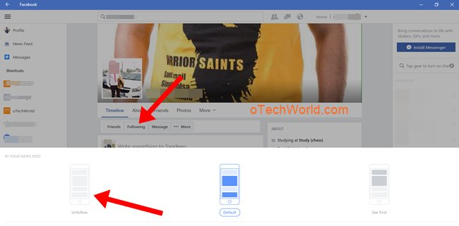 unfollow friends on facebook for windows 10