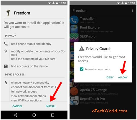 install freedom apk and open it